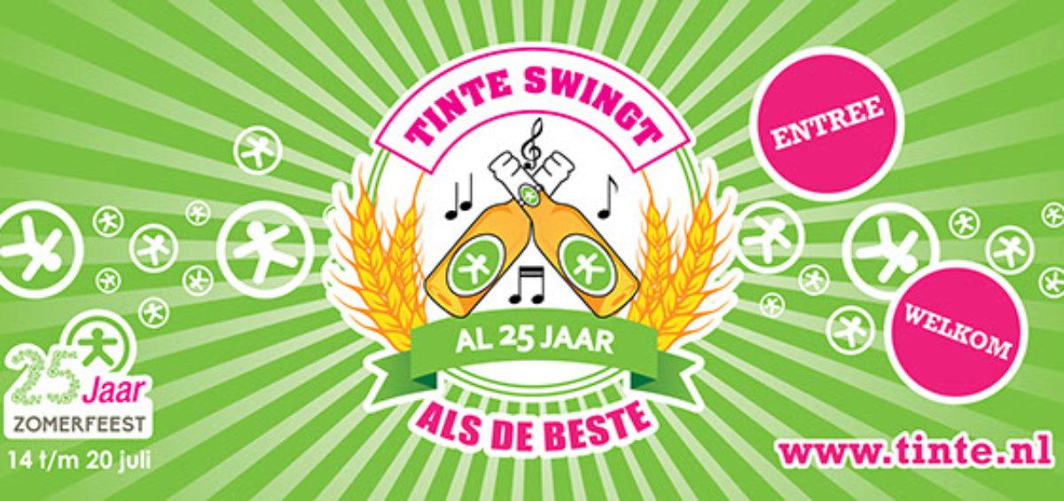 Spandoek ingang 25 jaar zomerfeest Tinte